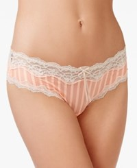 Heidi Klum By Mesh And Lace Striped Cheeky Hipster H309 1181B Only At Macy's Neon Coral Silver Peony