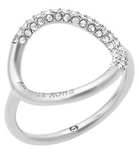 Michael Kors Brilliance Stainless Steel And Crystal Pava Ring
