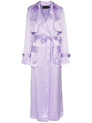Michael Lo Sordo Belted Silk Trench Coat Pink And Purple