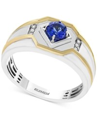 Effy Men's Tanzanite 3 8 Ct. T.W. And Diamond Accent Ring In 14K Gold And White Gold Blue
