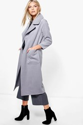 Boohoo Oversized Collar Wool Look Robe Coat Grey