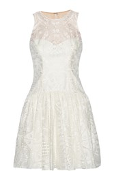 Marchesa Embroidered Organza Mini Dress White