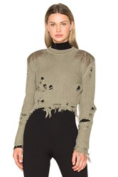 Yeezy Destroyed Cropped Patch Sweater Green