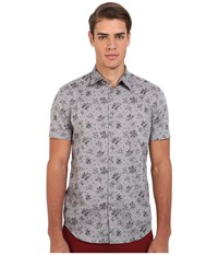 John Varvatos Slim Fit Floral Sport Shirt With Cuffed Short Sleeves W444r4l Water Men's Short Sleeve Button Up Blue