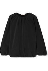 The Row Rain Gathered Silk Crepe De Chine Blouse Black