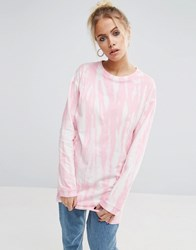 Asos T Shirt With Bleach Print With Long Sleeves Pink