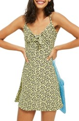 Topshop Ditsy Knot Mini Sundress Yellow Multi