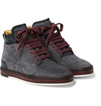 Berluti Ferro Suede And Leather High Top Sneakers Charcoal