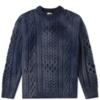 Kent And Curwen Linton Destroyed Crew Knit Blue