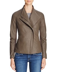 T Tahari Kelly Leather Jacket Taupe
