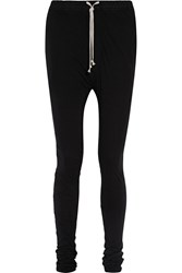 Rick Owens Shell Trimmed Stretch Cotton Jersey Track Pants Black