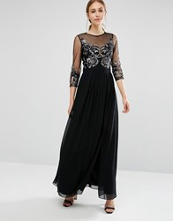Little Mistress Maxi Dress With Embellished Bust And 3 4 Sleeve Black Navy