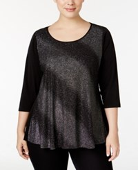 Ny Collection Plus Size Metallic Swing Top Silver Milky