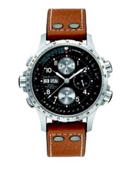 Hamilton Khaki Aviation X Wind Auto Chrono Stainless Steel And Leather Strap Watch Cognac Silver