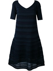 D.Exterior Embroidered Flared Dress Blue