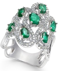 Macy's Emerald 2 Ct. T.W. And Diamond 5 8 Ct. T.W. Ring In 14K White Gold