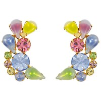 Eclectica Vintage 1950S Bright Gold Plated Glass Stone Clip On Earrings Blue Pink