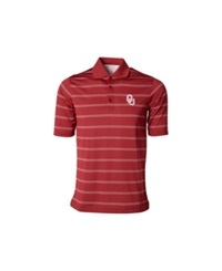 Antigua Men's Oklahoma Sooners Deluxe Polo Shirt Crimson White Gray