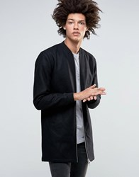 Minimum Hayman Wool Longline Bomber With Quilted Lining Black