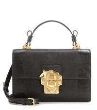 Dolce And Gabbana Lucia Topendo East West Embossed Leather Shoulder Bag Black