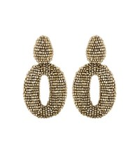 Oscar De La Renta Beaded Clip On Earrings Gold