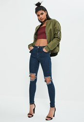 Missguided Blue Anarchy Authentic Busted Knee Skinny Jeans