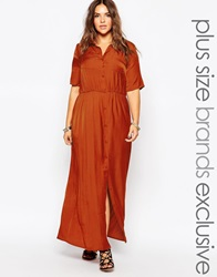Alice And You Utility Shirt Maxi Dress Rust