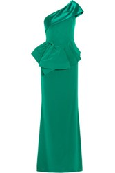 Mikael Aghal One Shoulder Satin Paneled Crepe Gown Green