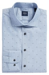 John W. Nordstrom Big And Tall Trim Fit Dot Dress Shirt Blue Forever