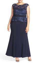 Xscape Evenings Plus Size Women's Lace And Jersey Peplum Gown