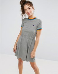 Asos Skater Dress With Rainbow Tipping And Star Badge Gray