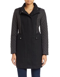 Kenneth Cole Reaction Quilted Sleeve Mock Neck Coat Black