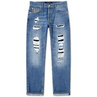 Alexander Mcqueen Distressed Slim Fit Jeans Blue