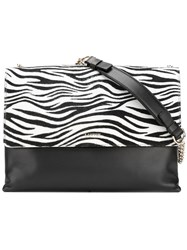 Lanvin Zebra Print Shoulder Bag Women Leather One Size Black