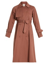 Sea Belted Cotton Double Breasted Trench Coat Pink