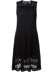Peter Jensen Ruffle Lace Dress Black