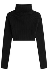 Valentino Cropped Virgin Wool And Cashmere Pullover With Turtleneck Black