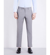 Armani Collezioni Regular Fit Micro Checked Wool Trousers Grey
