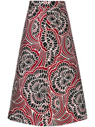 Red Valentino Floral Print Skirt Women Polyester 40 Red
