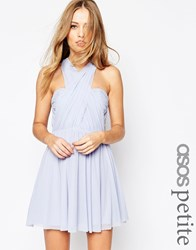 Asos Petite Wedding Multiway Mesh Mini Dress Icy Blue