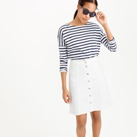 J.Crew Petite Button Front White Denim Mini Skirt