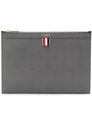 Thom Browne Bicolor Small Zipper Tablet Holder In Pebble Grain Grey