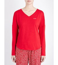 Calvin Klein V Neck Stretch Cotton Pyjama Top 4Rg Regal Red