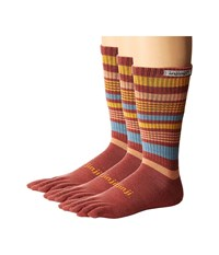 Injinji Outdoor 2.0 Original Weight Crew Nuwool 3 Pair Pack Rosewood No Show Socks Shoes Red