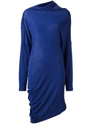 Maison Martin Margiela Asymmetric Draped Dress Blue