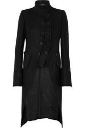 Ann Demeulemeester Layered Double Breasted Wool Coat Black