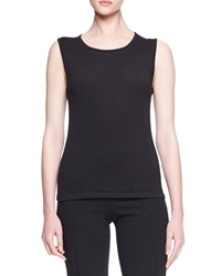 Oscar De La Renta Sleeveless Knit Cashmere Silk Shell