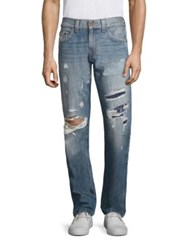 True Religion Geno Straight Fit Distressed Jeans Patched Wanderer