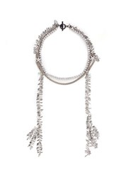 Venna Crystal Star Leaf Fringe Necklace White Metallic