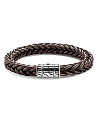 John Hardy Limited Edition Classic Chain Sterling Silver Braided Bracelet In Brown Leather